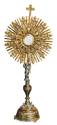 A monstrance: Exposition of the Blessed Sacrament.