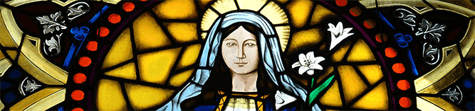 Stained glass window of the Holy Mother