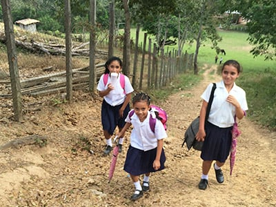 Children walking to school.