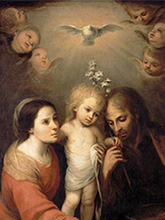 The Holy Family, Juan Simón Gutiérrez (1643–1718), Public domain