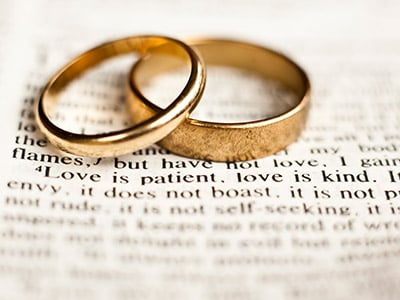 Two wedding rings on a bible.