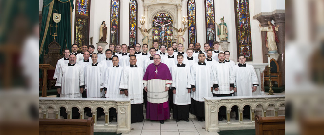 Bishop Olson with all the Fort Worth Seminarians